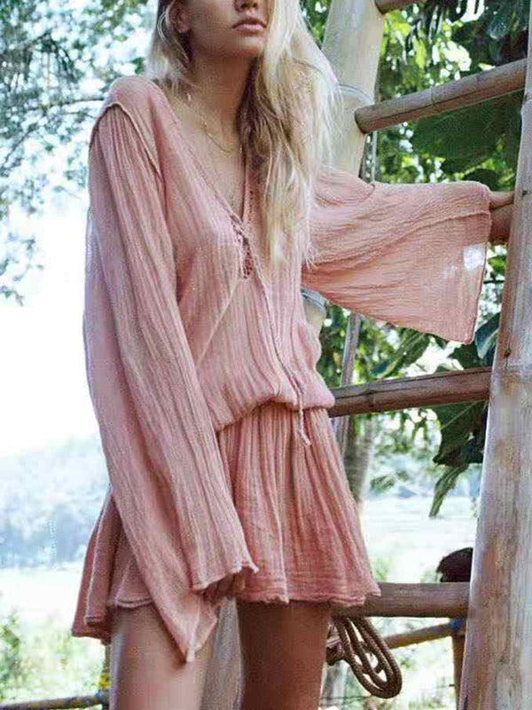Plus Size Pink Cotton-Blend Boho Dresses