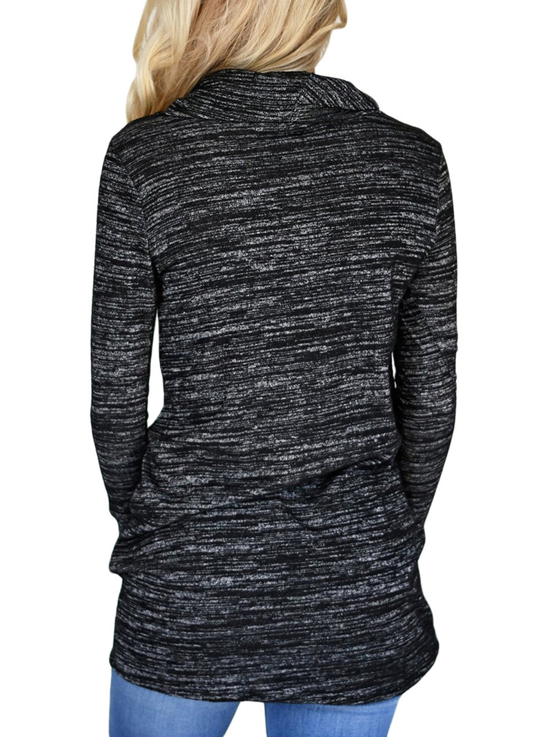 Cowl Neck Long Sleeve Spandex Pockets Women Clothing