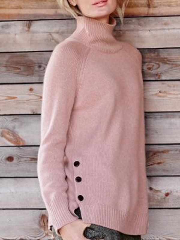 Pink Long Sleeve Solid Sweater