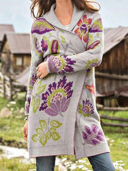 Plus Size Casual Floral Outerwear