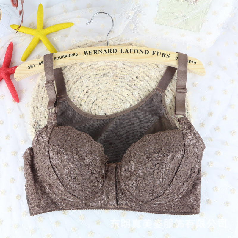 BHBra High Quality Lace Front Closure Wireless Bras Nude