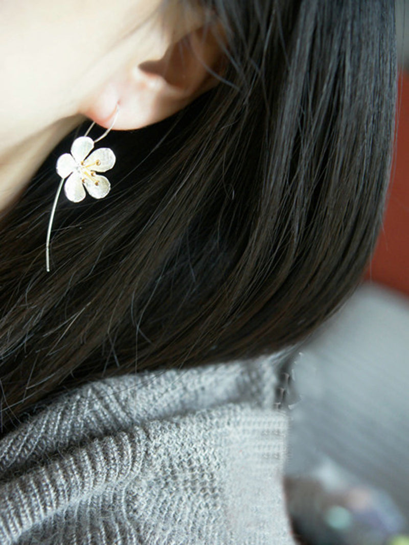 Handmade Party Bohemia Women Lady Long Girlfriend Female Silver Fashion Elegant Daisy Flowers Earrings