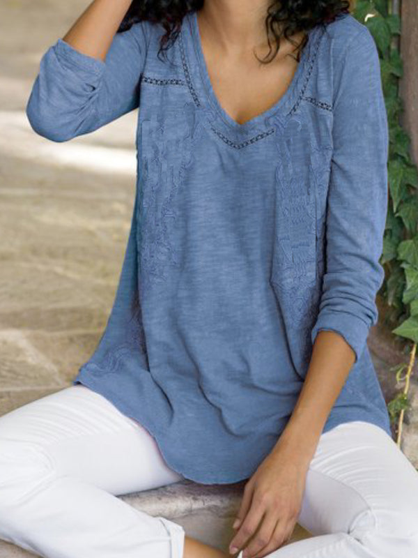 Casual Long Sleeve V Neck Solid Shirts