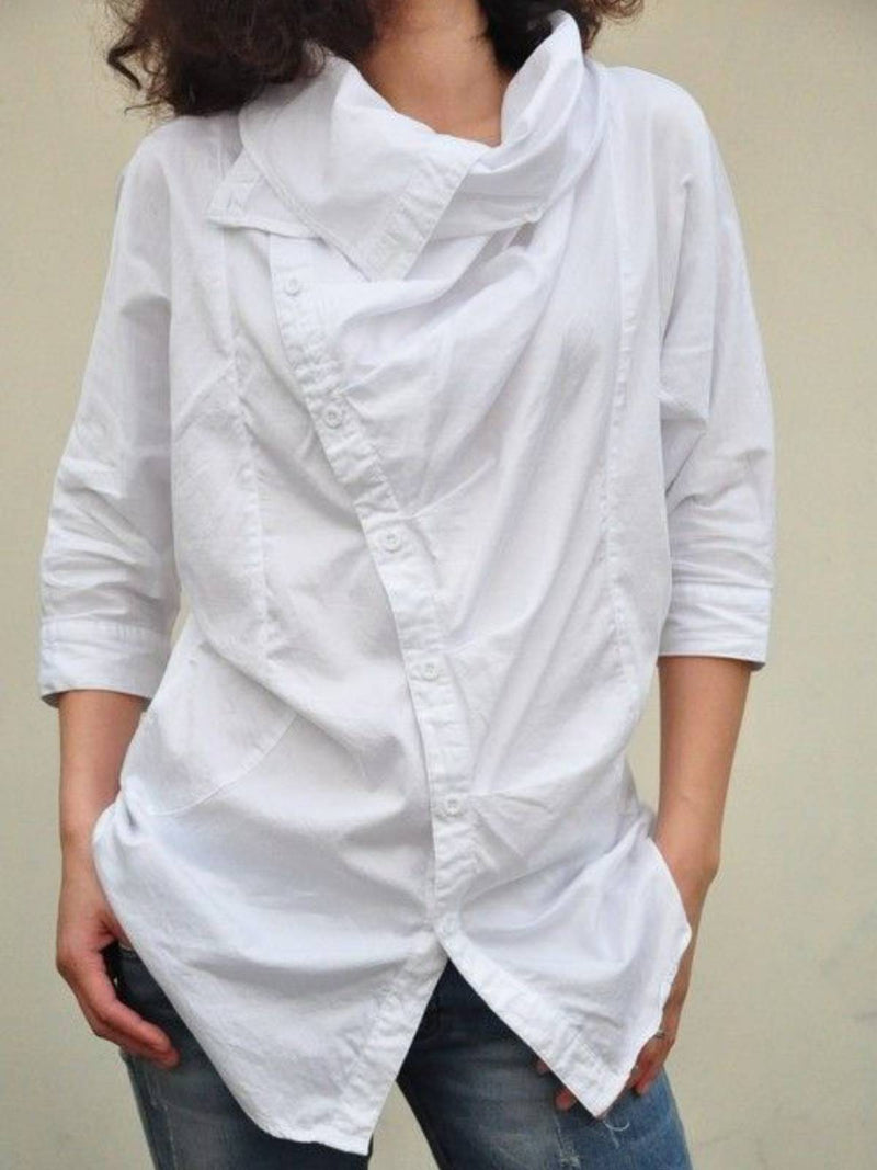 White Cotton-Blend Plain Cocoon Long Sleeve Shirts & Tops