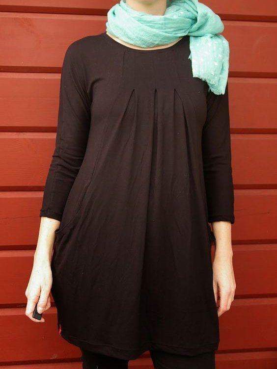 Black Crew Neck Casual Knitted Dresses