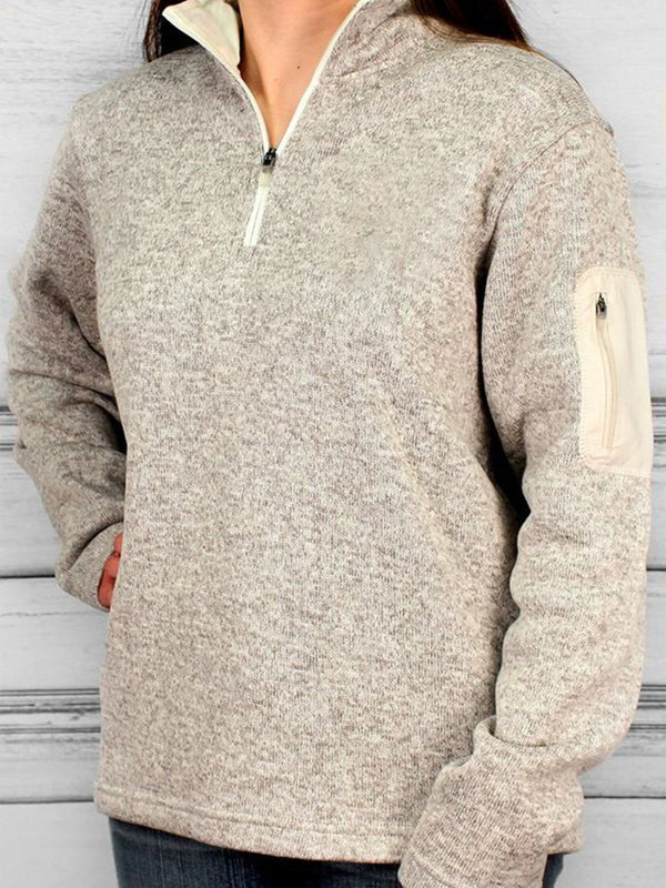 Gray Casual Shift Stand Collar Long Sleeve Sweatshirt