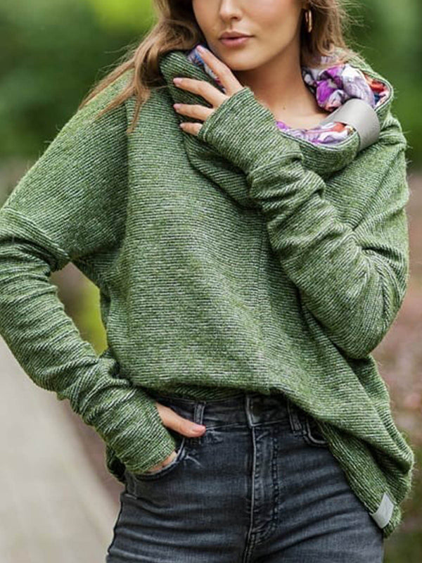 Plus size Casual Floral Turtleneck Sweatshirt