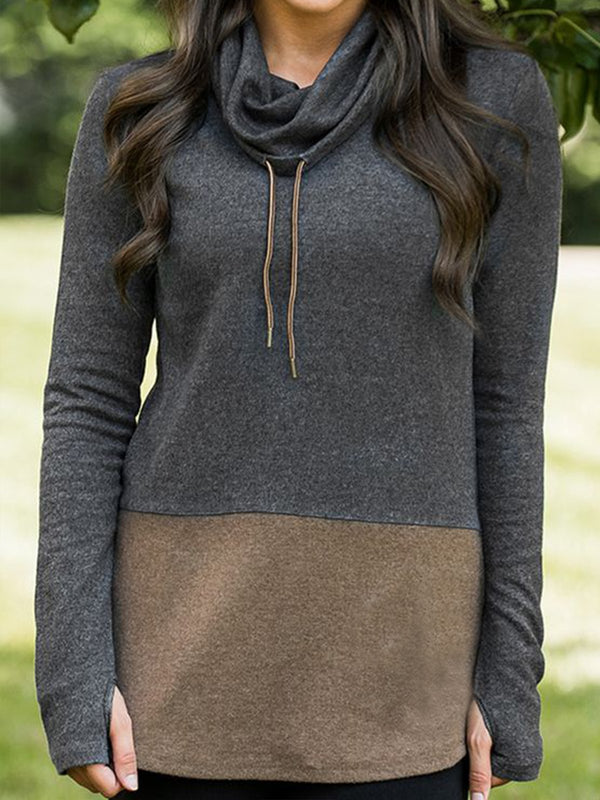 Brown Cotton Shift Long Sleeve Sweatshirt