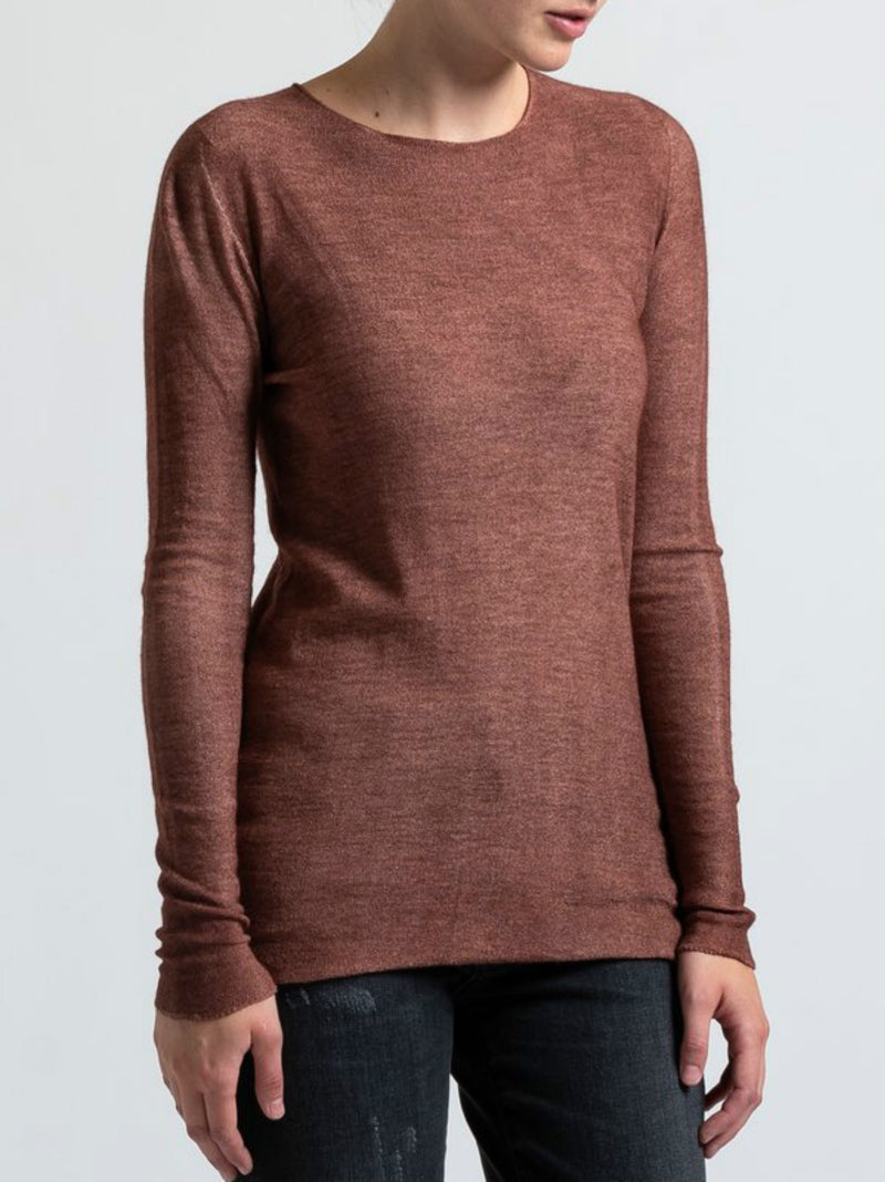 Red Cotton-Blend Round Neck Long Sleeve Shirts & Tops