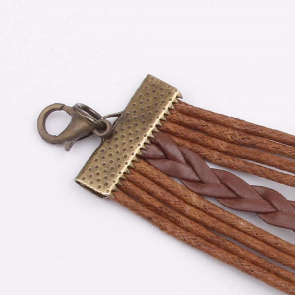 Women Bronze Vintage Leather Rope Bracelet