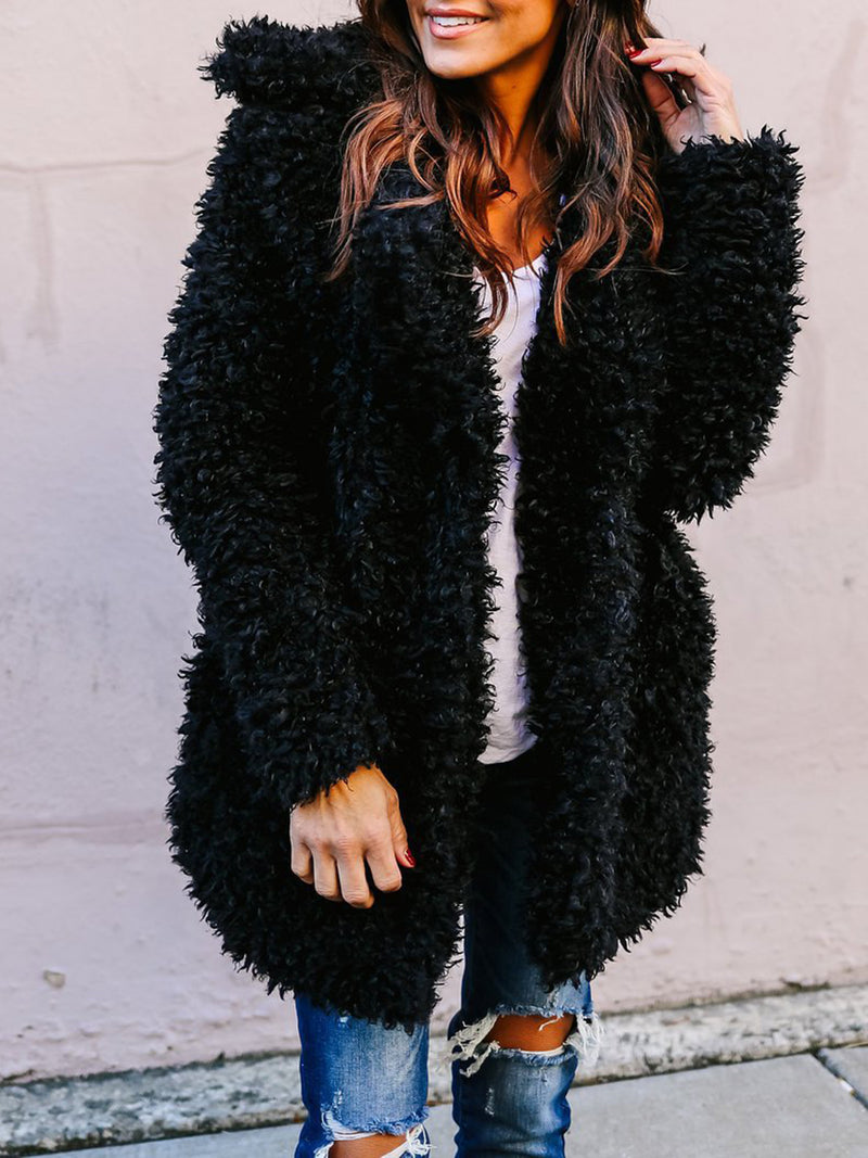 Long Sleeve Fluffy Casual Solid Quilted Coat
