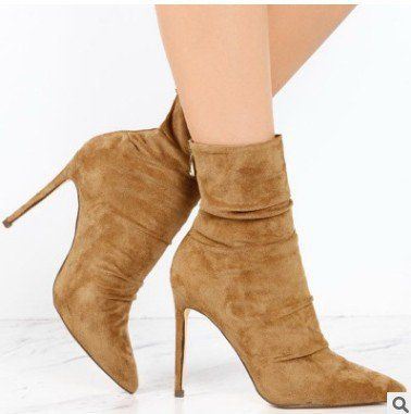 Yellow Zipper Suede Stiletto Heel Daily Boots