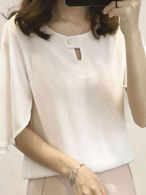Crew Neck Short Sleeve Casual Plus Size Chiffon Blouse