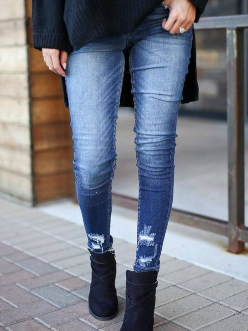 Blue Plain Casual Denim Pants