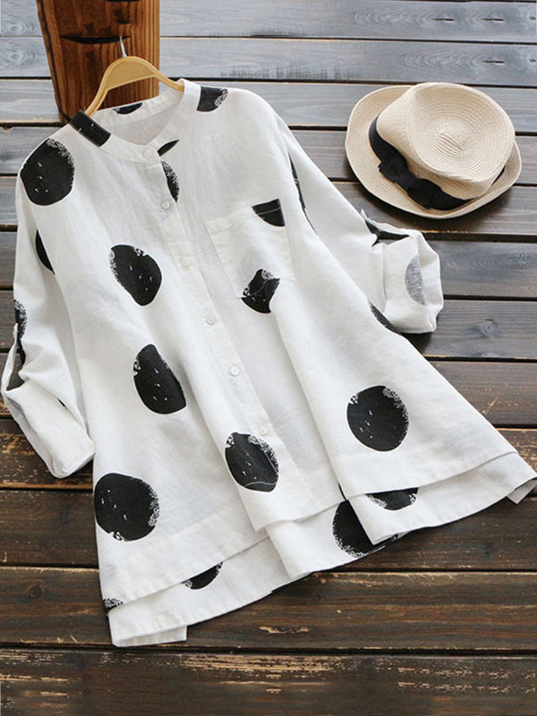 Women Casual Polka Dot Cotton Tops Long Sleeve Stand Collar Blouses
