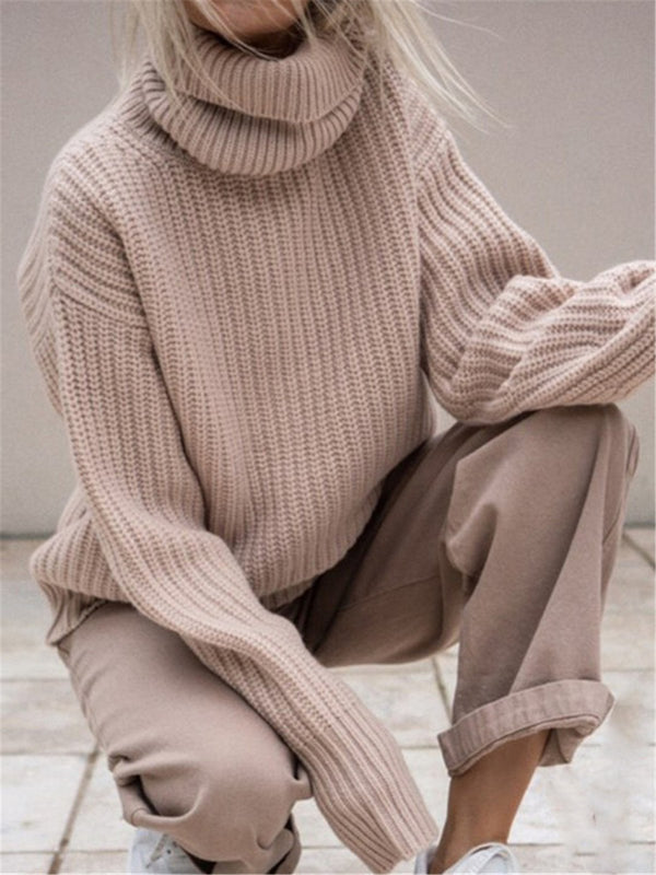 Beige Knitted Casual Turtleneck Sweater