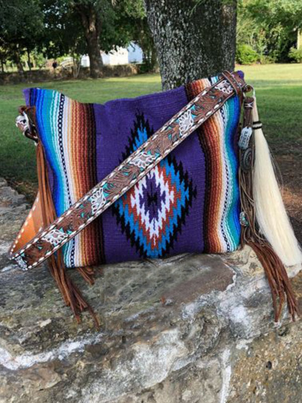Blue Boho Cotton-Blend Shoulder Bags
