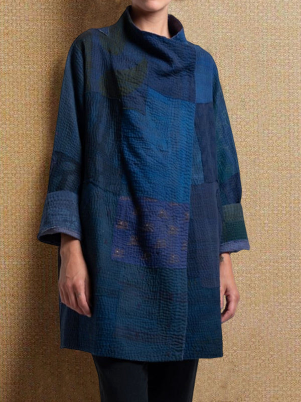 Blue Cotton-Blend Long Sleeve Casual Outerwear