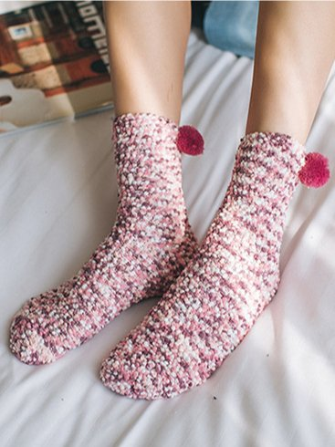 Coral Fleece Warm Mid-Carf Socks - One size