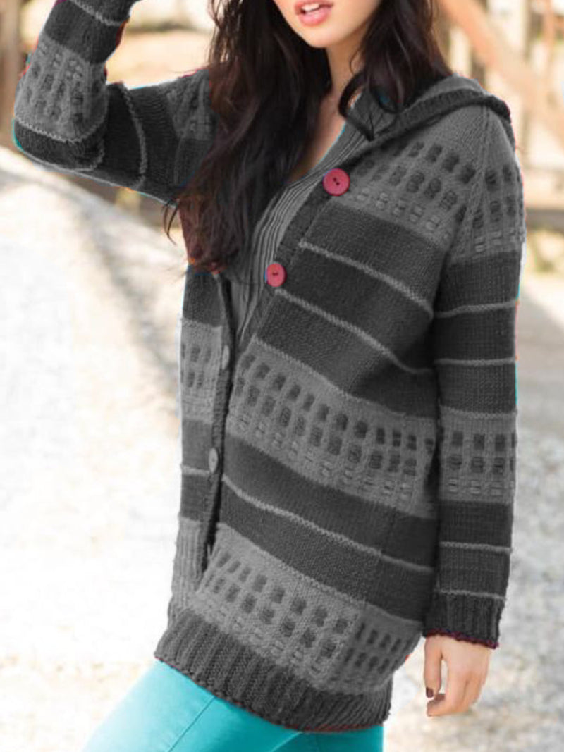 Womens Casual Plus Size Hoodie Knitted Sweater Cardigan