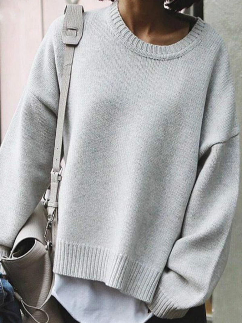 White-Gray Casual Solid Round Neck Sweater
