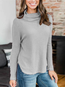 Casual Cowl Neck Solid Long Sleeve Sweater