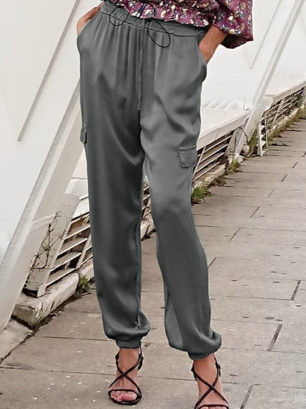 Plus Size Casual Pockets Solid Long Sleeve Pants