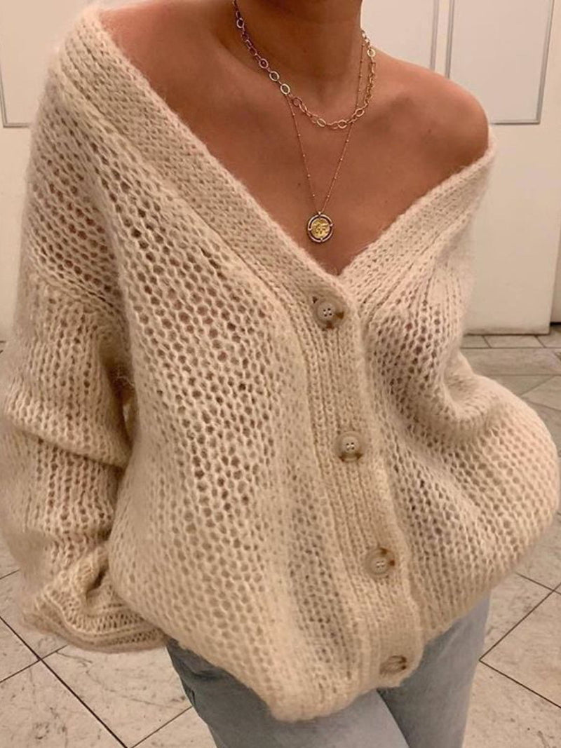 Casual Buttoned V Neck Long Sleeve Knitted Sweater