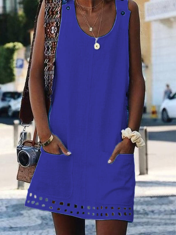 Women Casual Summer Dress Crew Neck Sleeveless Sun Dresses