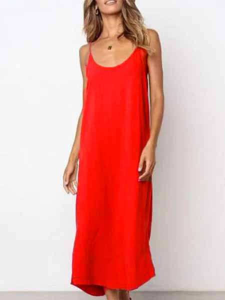 Sleeveless Casual Spaghetti Plain Maxi Dresses