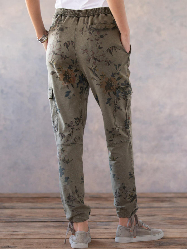 Army Green Embroidered Sweet Pants