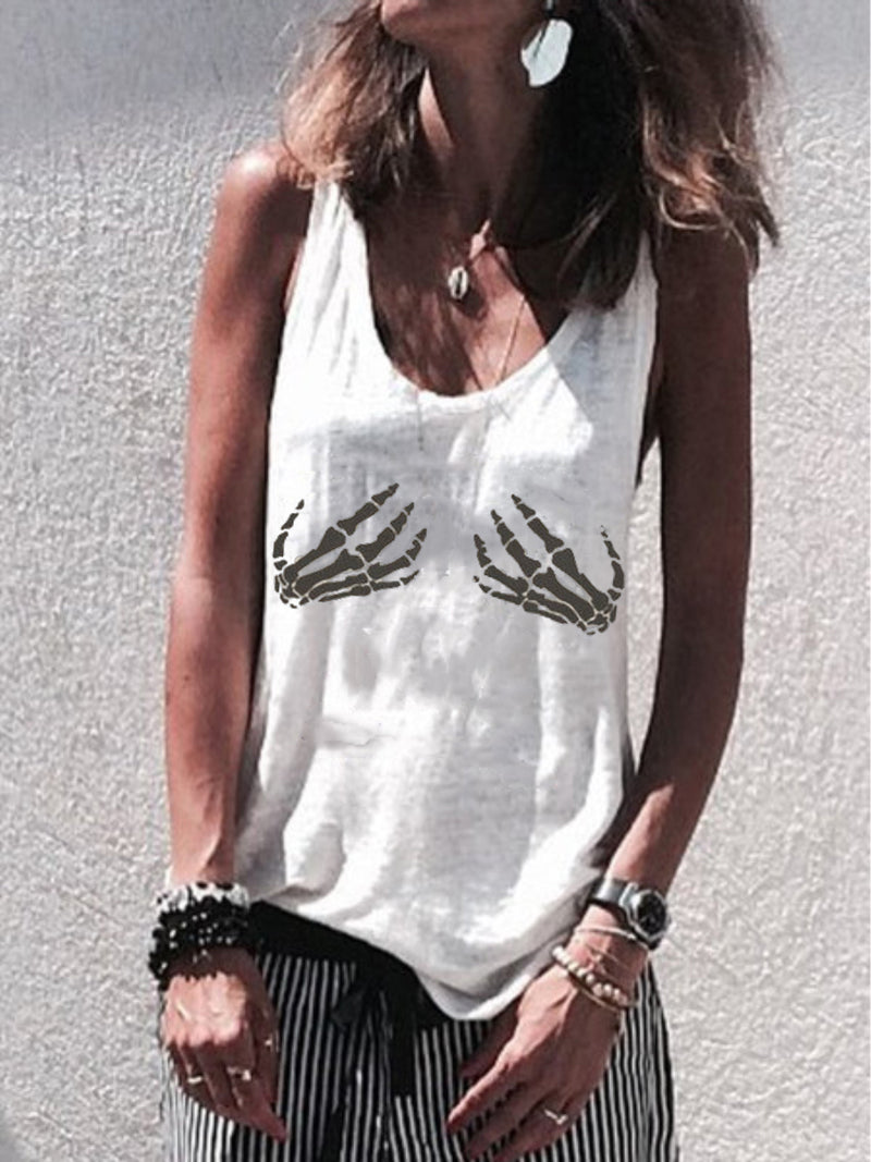 Graphic Printed Sleeveless V-neck Casual Vest