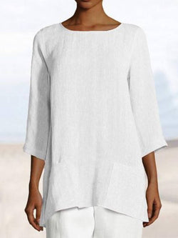 White Solid Casual Round Neck Pockets Cotton-Blend Shirts & Tops