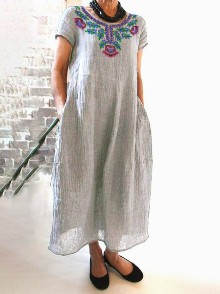 Floral-Printed Maxi Daily Linen Dress