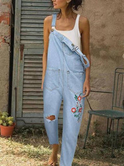 Lightblue Embroidered Casual Denim One-Pieces