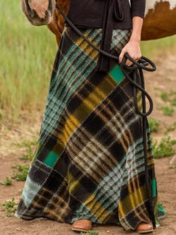 Casual Plaid Vintage Skirts