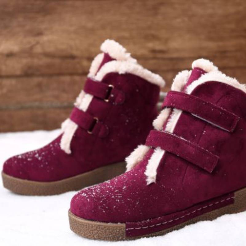 Faux Suede Stitching Hook Loop Warm Plush Casual Ankle Flat Boots