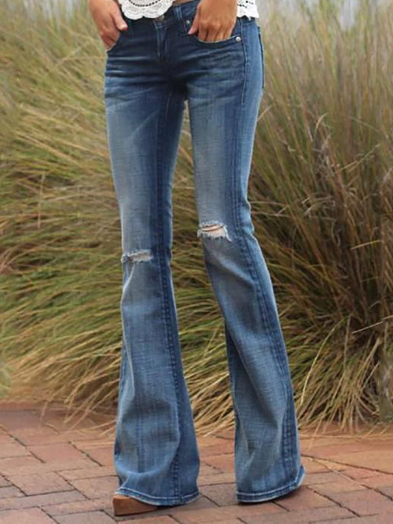 Blue Solid Casual Denim Pants