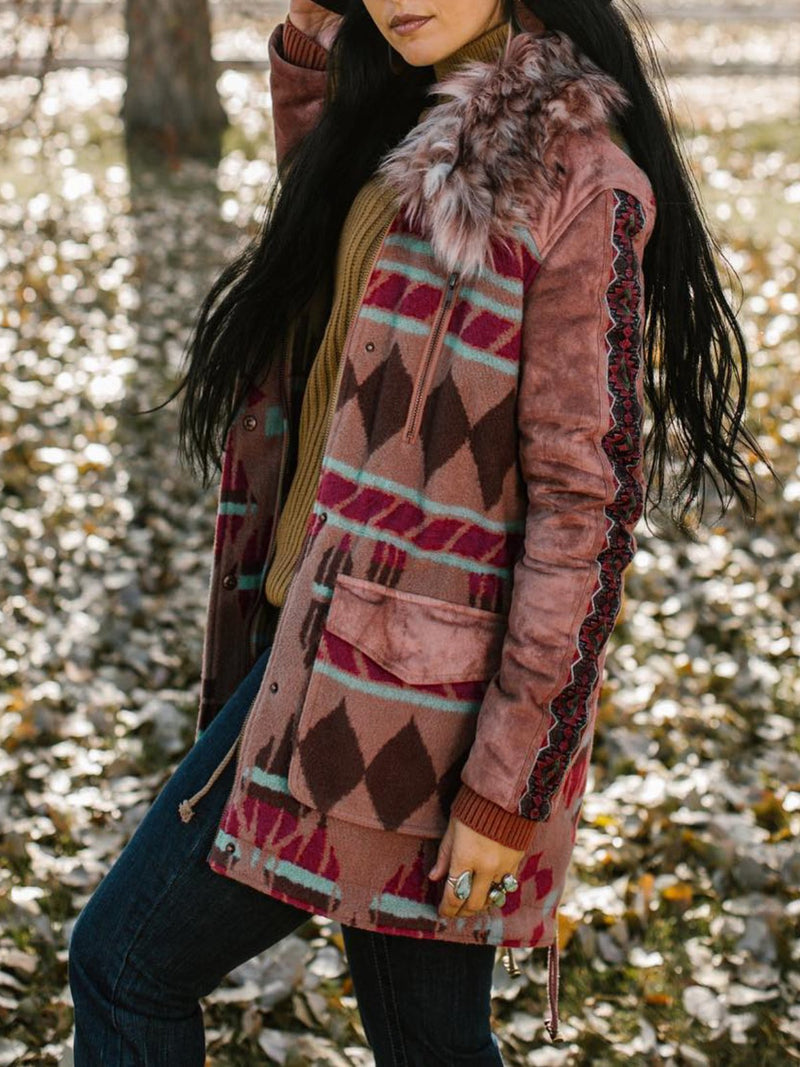Brown Long Sleeve Printed Knitted Outerwear