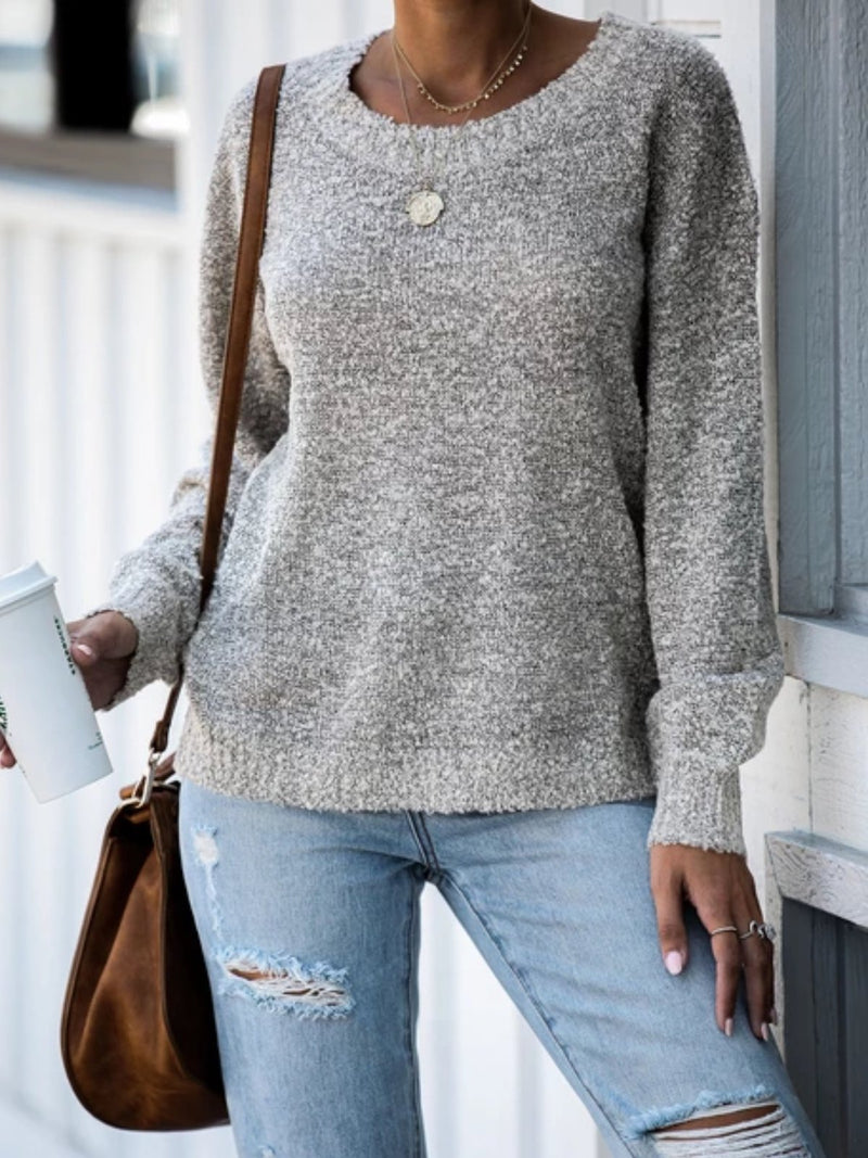 Grey Long Sleeve Solid Knitted plus size Sweater