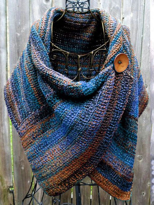 Women Vintage Stripes Color Block Autumn Scarves & Shawls