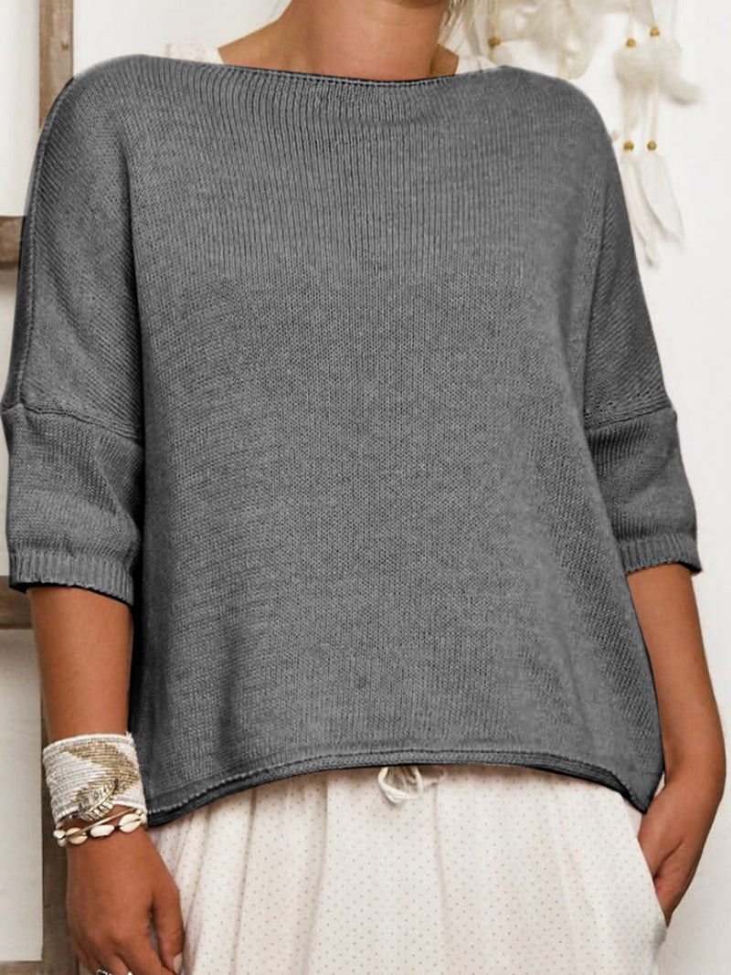 Plus Size 3/4 Sleeve Vintage Plain Casual Sweater