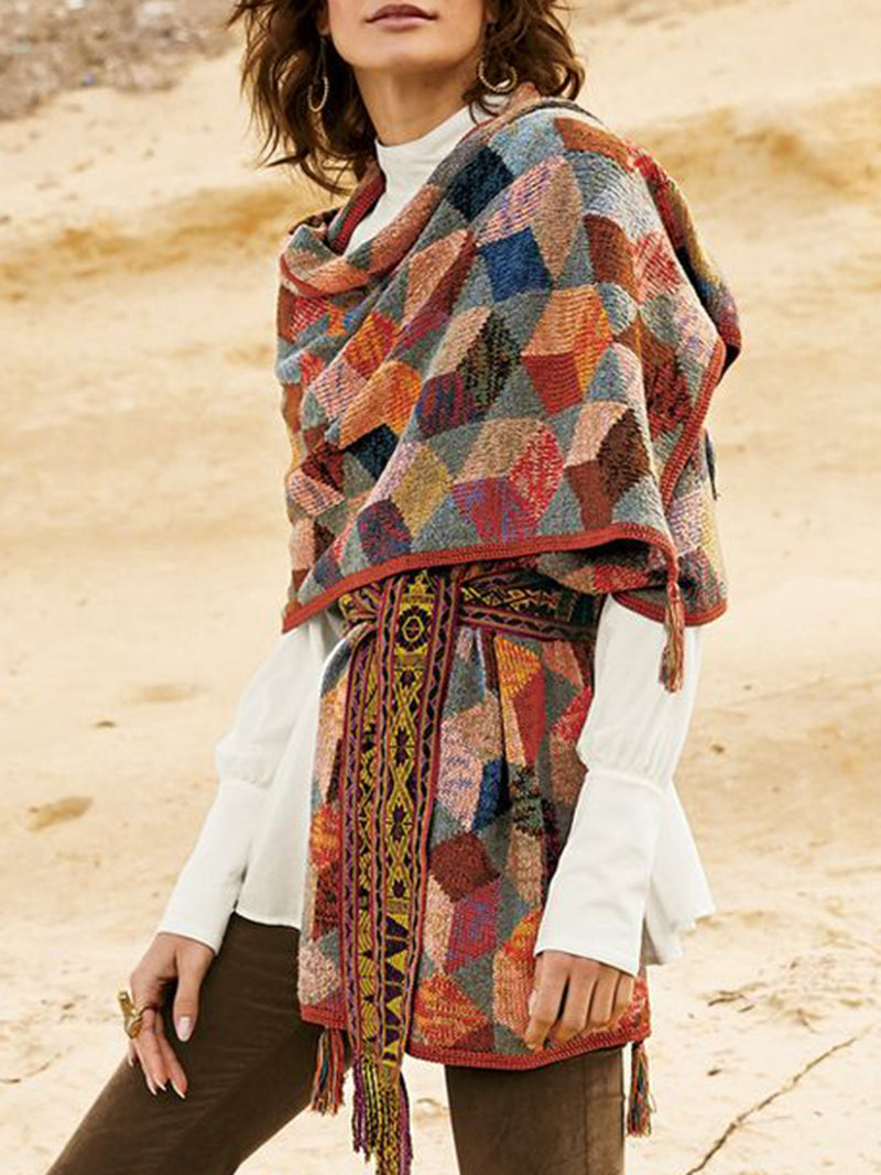 Multicolor Geometric Cotton-Blend Color-Block Vintage Scarves & Shawls