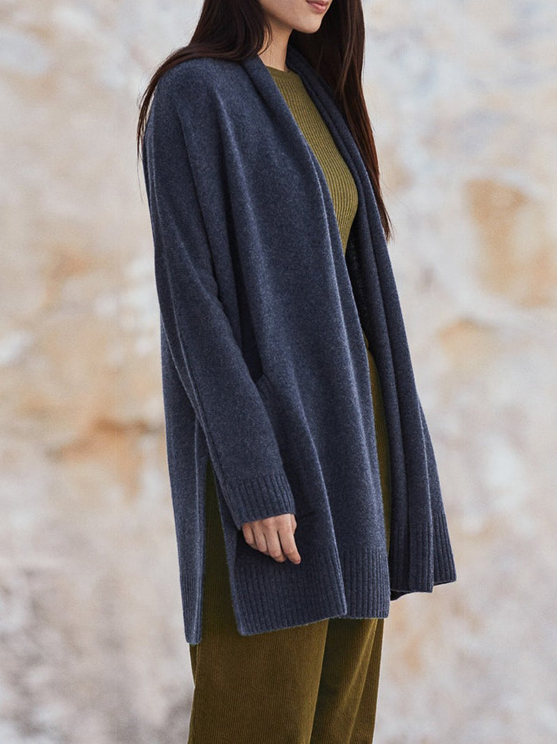 Cotton-Blend Solid Long Sleeve Pockets plus size Outerwear