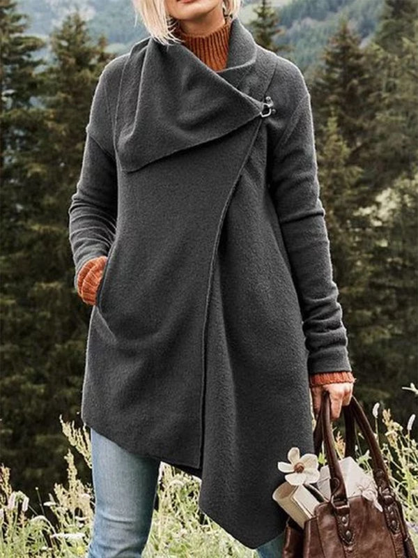 Asymmetrical Long Sleeve Cowl Neck Casual Outerwear