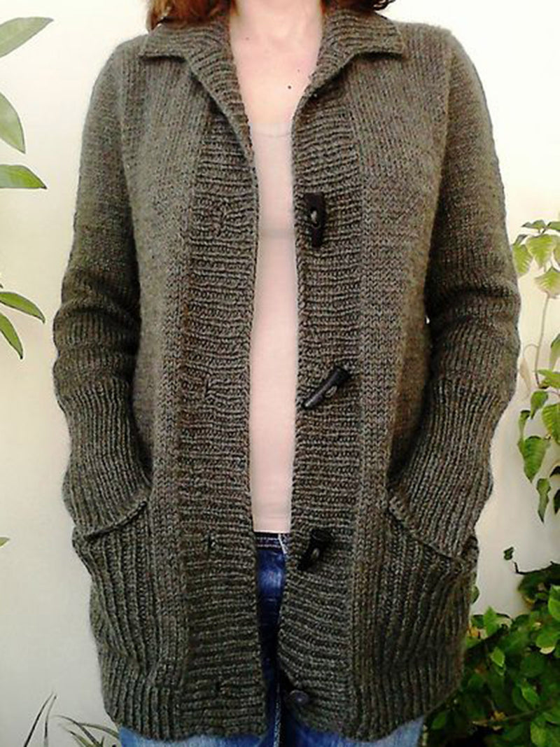 Deep Gray Vintage Pockets Cotton-Blend Outerwear
