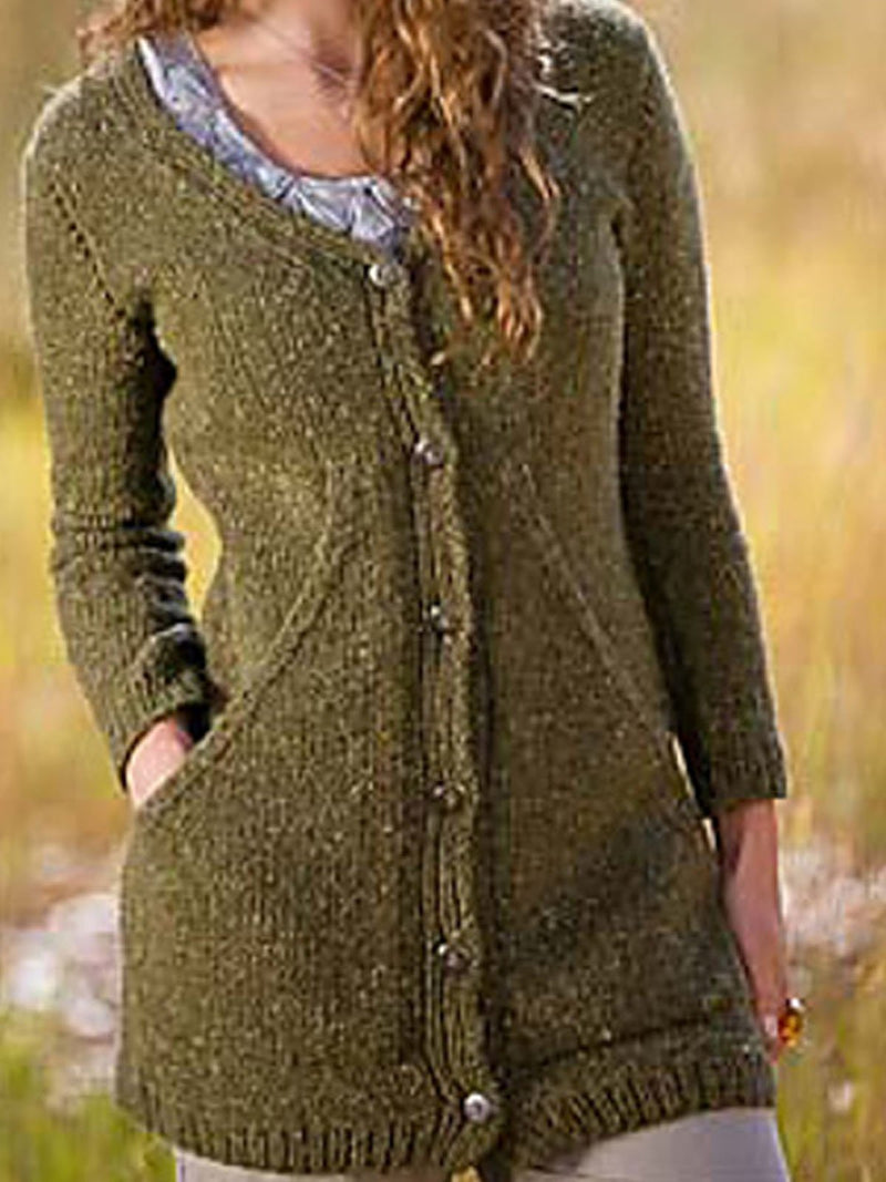 V neck Cotton-Blend Buttoned Casual Outerwear