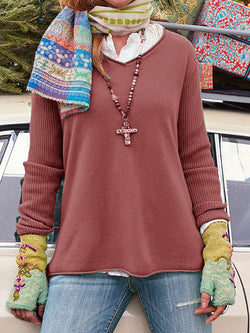 Knitted Sleeve Paneled Cozy Shirts Plus Size Tops