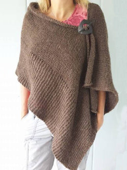Brown Plain Wool Blend Casual Scarves & Shawls