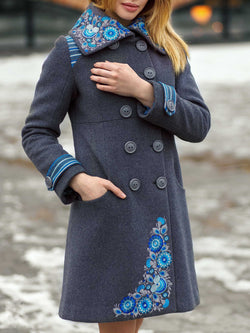 Blue Shawl Collar Pockets Floral Long Sleeve plus size Outerwear